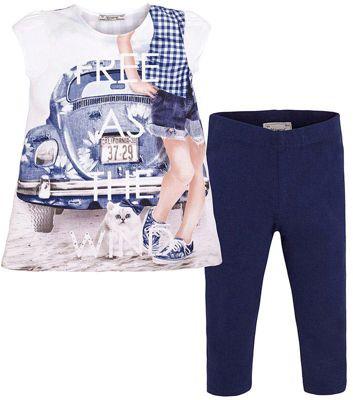 Комплект для девочки: леггинсы и футболка Mayoral - синий