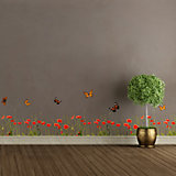 Bordüre Mohn & Schmetterlinge, selbstklebend, 200 x 30 cm