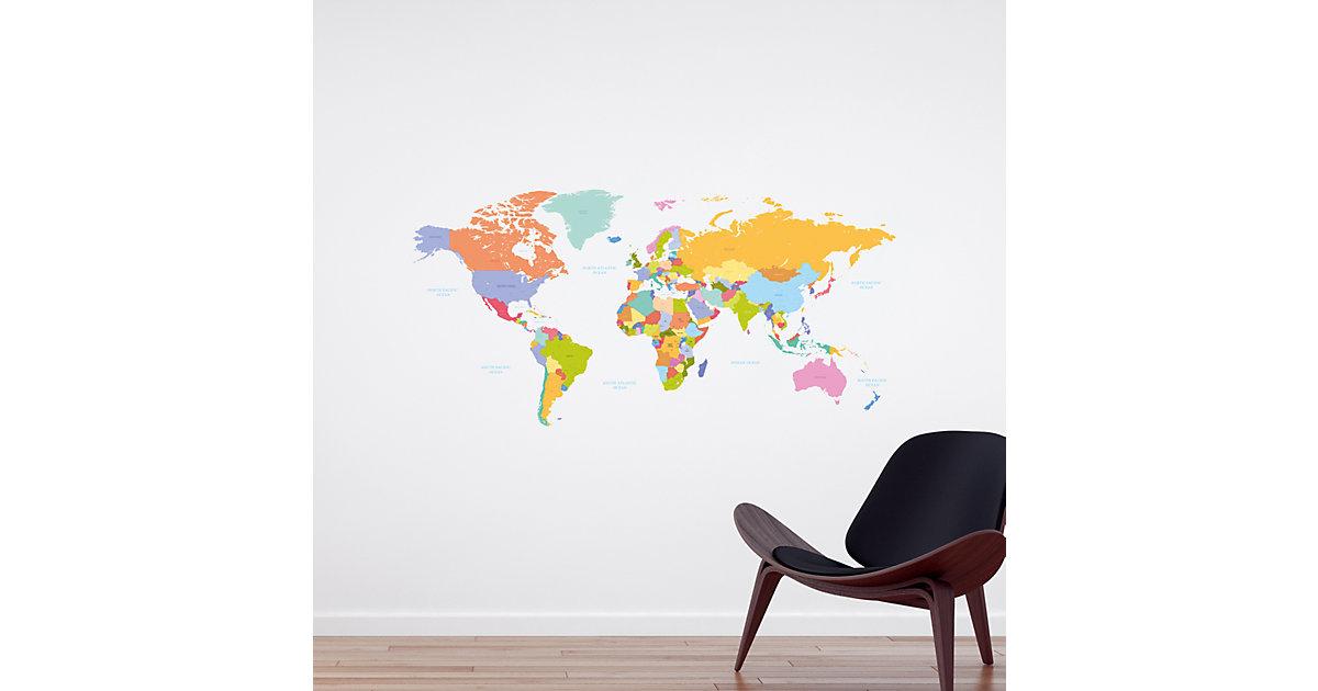 Wandsticker Weltkarte mehrfarbig