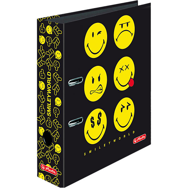 Ordner A4 maX.file SmileyWorld Black, 8 cm