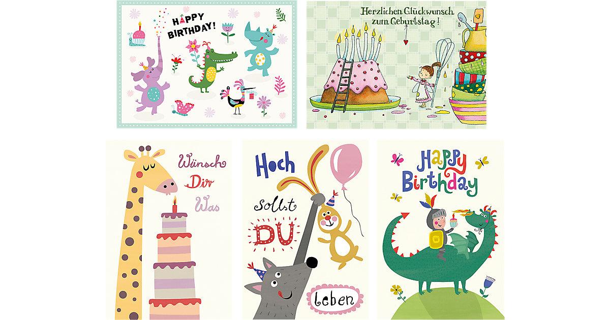 Postkarten-Set Happy Birthday, 5 Stück