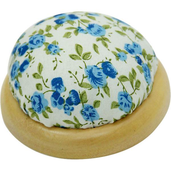 """Игольница-подушечка """"Голубые цветы"""" 7,3*4,5 см"""