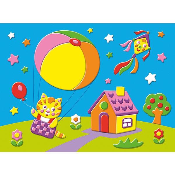 """Мягкая картинка """"Котёнок на воздушном шаре"""""""