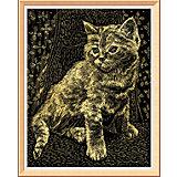 """Гравюра с эффектом золота """"Котёнок"""""""