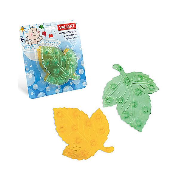 """Мини-коврики для ванной """"Листики"""", 6 шт (желтый и зеленый)"""