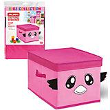 Розовый короб для хранения 30*30*29 см с крышкой