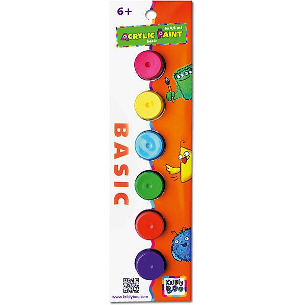 Набор акриловых красок с кисточкой, 6 цветов