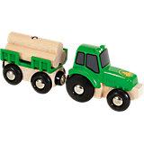 BRIO 33799 Traktor mit Holz-Anhänger
