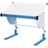 Schreibtisch, weiß/blau