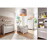 Komplett Kinderzimmer Poppy White (Kombi-Kinderbett 70 x 140 cm, Umbauseiten, Wickelkommode und breiter Kleiderschrank 2-trg.), Dekor/MDF weiß