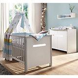 Sparset Poppy Grey (Kombi-Kinderbett 70 x 140 cm, Umbauseiten und Wickelkommode), Dekor grau/MDF weiß