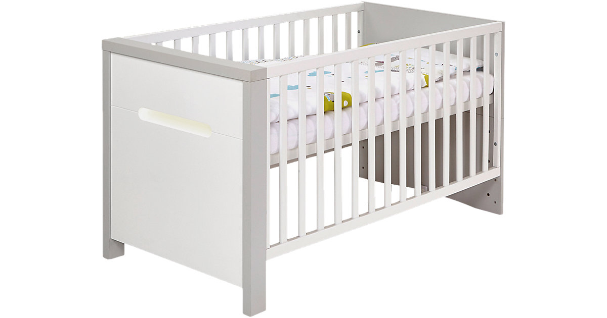 Kombi-Kinderbett Poppy Grey 70 x 140 cm, Dekor grau/MDF weiß grau/weiß