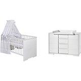 Sparset Maxx White (Kombi-Kinderbett 140 x 70 cm, Umbauseiten und breite Wickelkommode), Dekor/MDF weiß