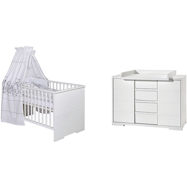 sparset maxx white kombi kinderbett 140 x 70 cm. Black Bedroom Furniture Sets. Home Design Ideas
