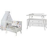 Sparset Holly White (Kombi-Kinderbett 70 x 140 cm, Umbauseiten und Wickelkommode), Dekor/Massivholz weiß