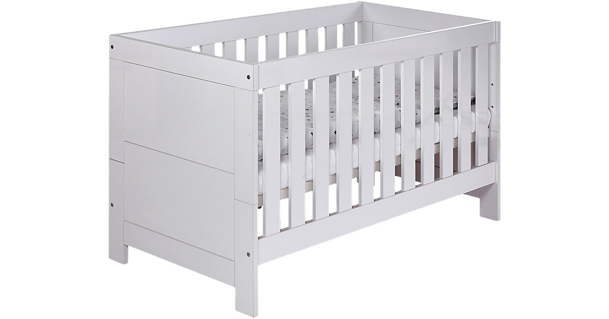 Kinderbett Nordic Hochglanz, 70 x 140 cm, Dekor Hochglanz weiß