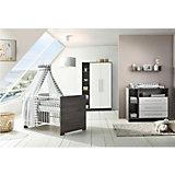 Komplett Kinderzimmer Eco Fleetwood (Kombi-Kinderbett 70 x 140 cm, Umbauseiten, Wickelkommode und Kleiderschrank 2-trg. mit Seitenregal), Dekor weiß/Holzdekor Fleetwood