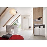 Komplett Kinderzimmer CLASSIC GREY (Kinderbett 60x120, Wickelkommode und Kleiderschrank 2-trg.), Dekor grau/weiß