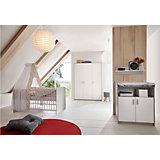 Komplett Kinderzimmer Classic Grey (Kombi-Kinderbett 70 x 140 cm mit Umbaukit, Wickelkommode und Kleiderschrank 3-trg.), Dekor grau/weiß