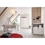 Sparset Classic Grey (Kombi-Kinderbett 70x140 cm mit Umbaukit und Wickelkommode), Dekor grau/weiß