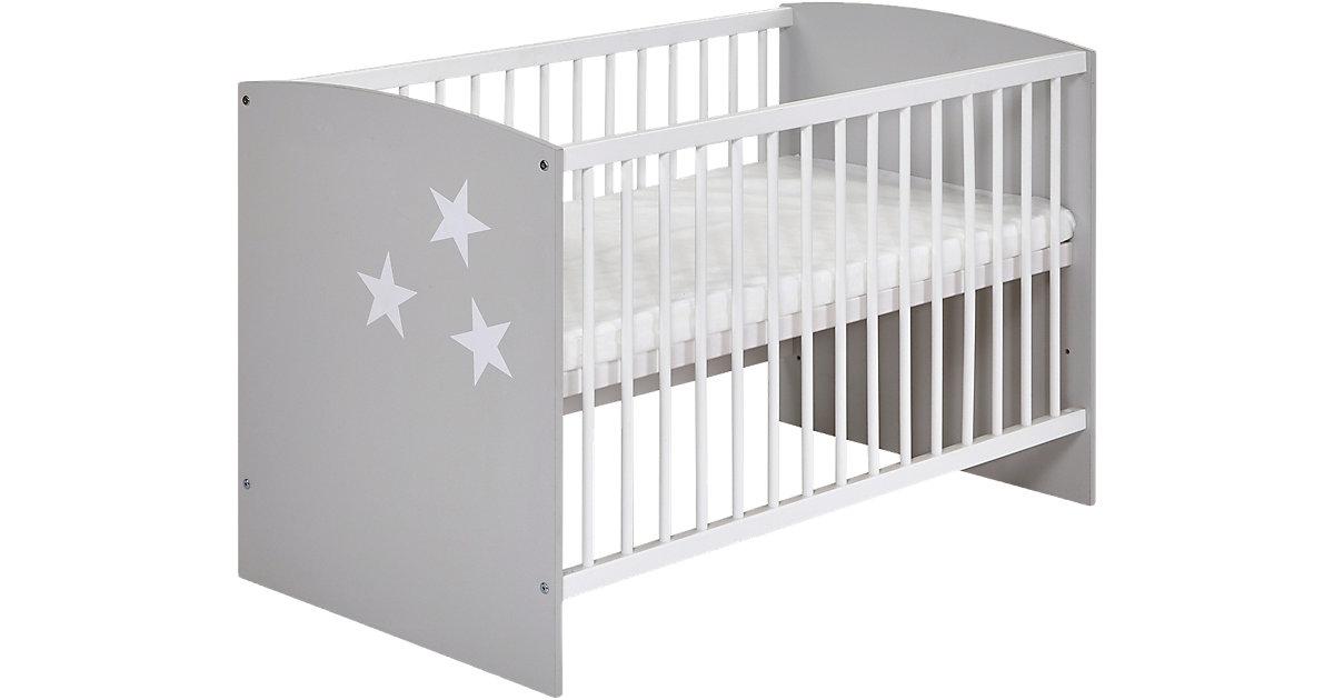 Kinderbett Classic Grey, 60 x 120 cm, Dekor grau/weiß