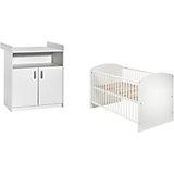 Sparset Classic White (Kombi-Kinderbett 70 x 140 cm mit Umbaukit und Wickelkommode), Dekor weiß