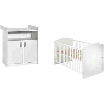 sparset classic white kombi kinderbett 70 x 140 cm mit umbaukit und wickelkommode dekor wei. Black Bedroom Furniture Sets. Home Design Ideas