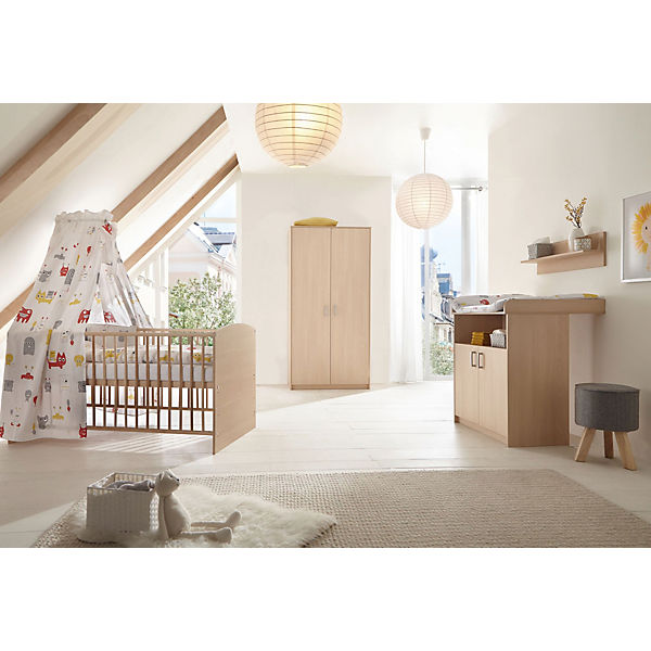 sparset classic buche kombi kinderbett 70 x 140 cm mit umbaukit und wickelkommode holzdekor. Black Bedroom Furniture Sets. Home Design Ideas