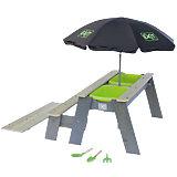 Sand-, Wasser- und Picknicktisch EXIT Aksent 1 Sitzfläche, inkl. Sonnenschirm und Gartenwerkzeuge