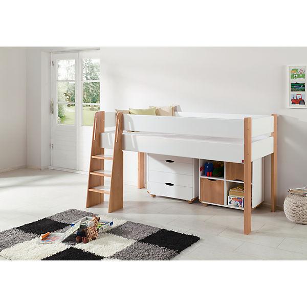 halbhochbett sam buche massiv natur wei 90 x 200 cm relita mytoys. Black Bedroom Furniture Sets. Home Design Ideas