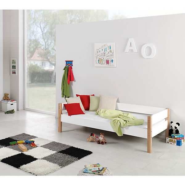 hochbett renate 90x200 inkl rollrost buche geleimt wei. Black Bedroom Furniture Sets. Home Design Ideas