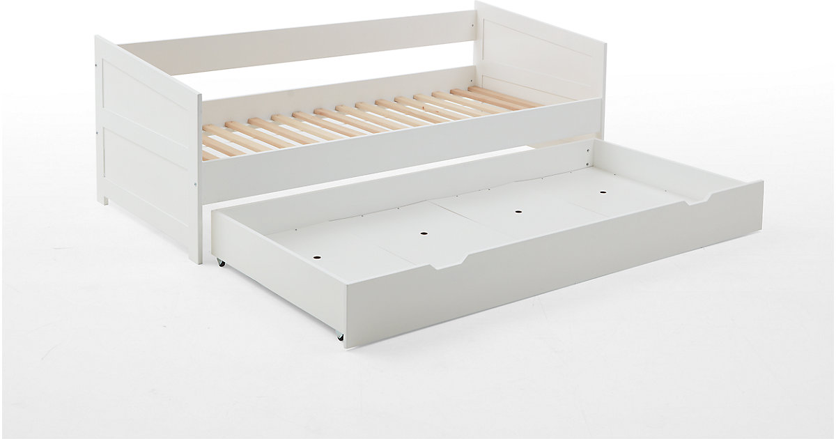 Einzelbett NINA inkl. Rollrost Buche massiv, weiß lackiert Gr. 90 x 200
