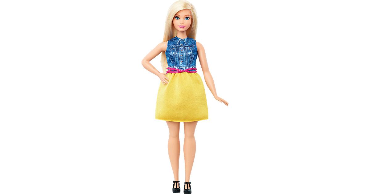 Fashionista im Kleid in Gelb und Denim