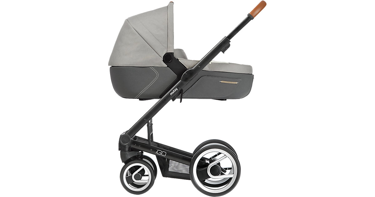 Kombi-Kinderwagen Igo pure, storm, Gestell black grau/beige