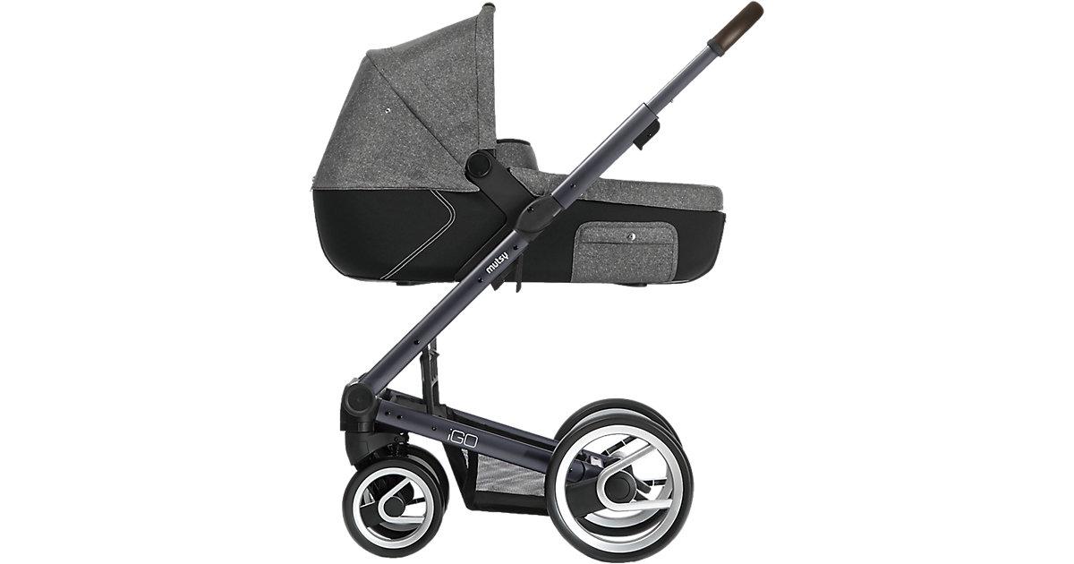 Kombi-Kinderwagen Igo reflect, white & black print, Gestell darkgrey black denim