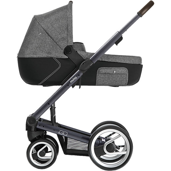 Kombi-Kinderwagen Igo reflect, white & black print, Gestell darkgrey
