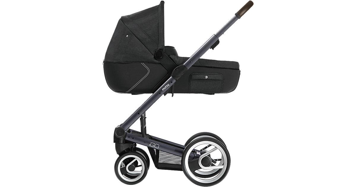 Kombi-Kinderwagen Igo reflect, dark grey print, Gestell darkgrey dark grey denim