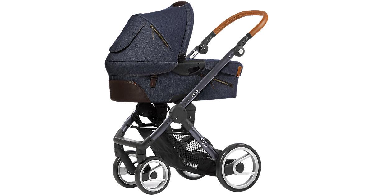 Kombi-Kinderwagen Evo industrial, indigo, Gestell darkgrey jeansblau