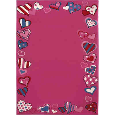 Kinderteppich Just Hearts, pink