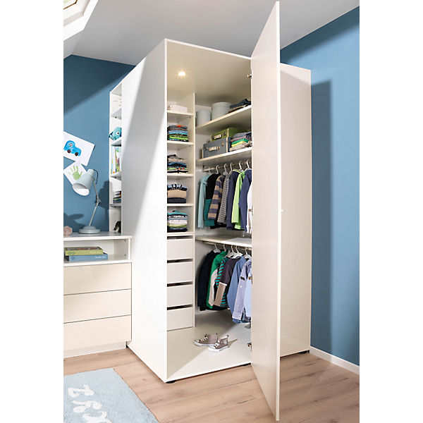 eck kleiderschrank emmi wei macchiato hochglanz wellem bel mytoys. Black Bedroom Furniture Sets. Home Design Ideas