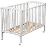 Kinderbett ARTHUR, mit Rollensätzen, 70 x 140 cm, weiß