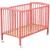 Kinderbett ARTHUR, mit Rollensätzen, 70 x 140 cm, pink