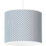 Lampenschirm Punkte, dunkelblau-weiß, Ø40cm