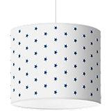 Lampenschirm Sterne, dunkelblau-weiß, Ø40cm