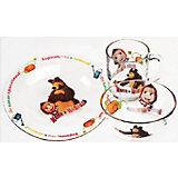 """Набор посуды """"Огород"""" (3 предмета, стекло), Маша и Медведь"""