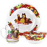 """Набор посуды """"Фруктовая корзина"""" (3 предмета, стекло), Маша и Медведь"""