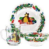 "Набор посуды ""Малина"" (3 предмета, стекло"", Маша и Медведь"