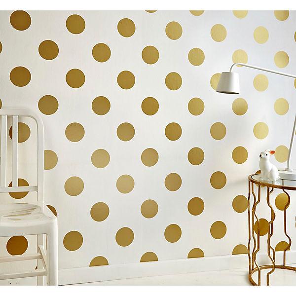 tapete punkte goldfarbig 10 m x 53 cm decofun mytoys. Black Bedroom Furniture Sets. Home Design Ideas