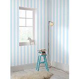 Tapete Streifen blau/weiß, 10,05 m x 53 cm