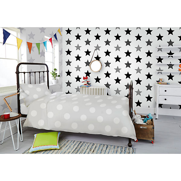 tapete sterne grau 10 m x 53 cm decofun mytoys. Black Bedroom Furniture Sets. Home Design Ideas
